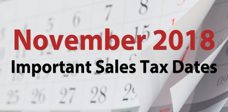 sales tax due dates november 2018