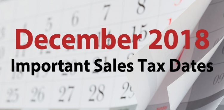sales tax due dates december 2018